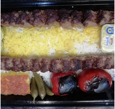 چلوکباب کوبیده مخصوص دو سیخ