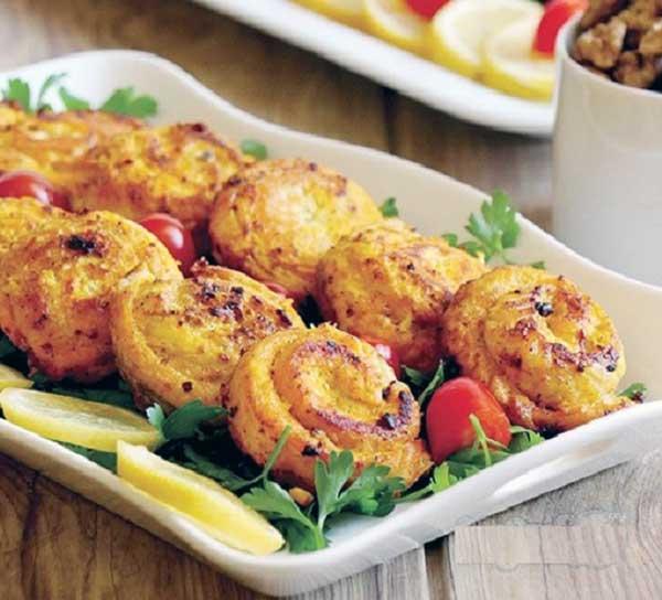 خوراک جوجه کباب حلزونی