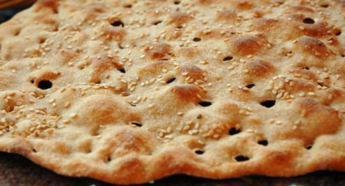 نان سنگک یک رو کنجد