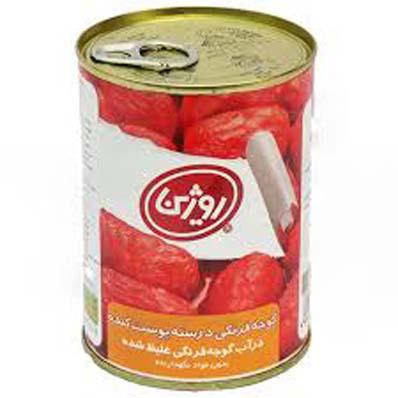 کنسرو گوجه فرنگی درسته پوست کنده قوطی فلزی 380 گرمی روژین