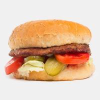همبرگر با قارچ و پنیر دستی