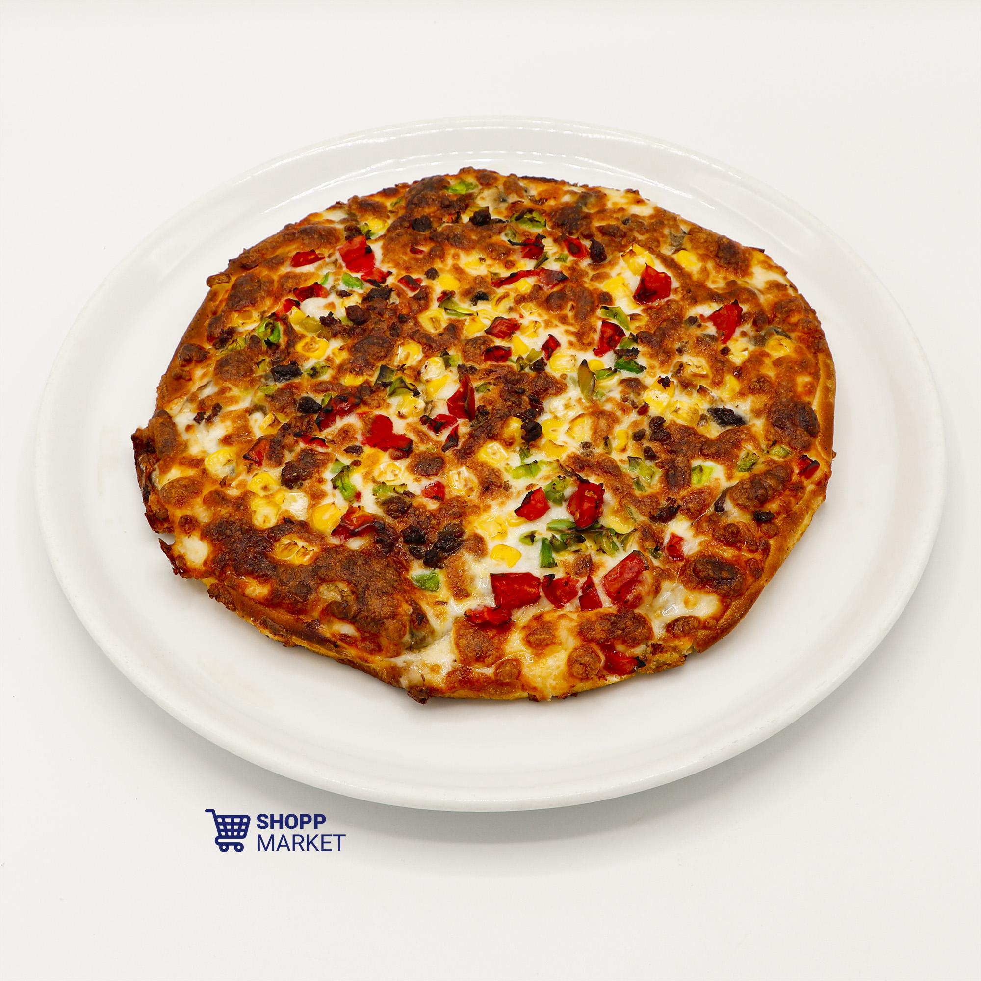 پیتزا گوشت و قارچ یک نفره