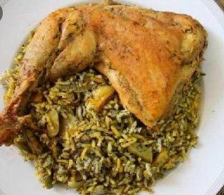 باقالی پلو با مرغ (ران کامل)