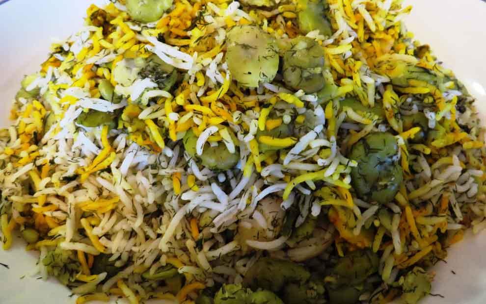 شوید باقالی پلو برنج ایرانی