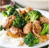 مرغ با بروکلی و برنج بخارپز ژاپنی