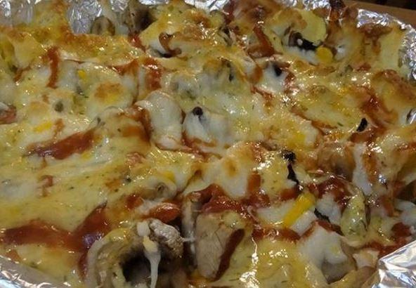 چیپس با قارچ و پنیر