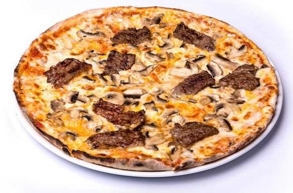 پیتزا سیر استیک متوسط(100 درصد گوشت خالص)