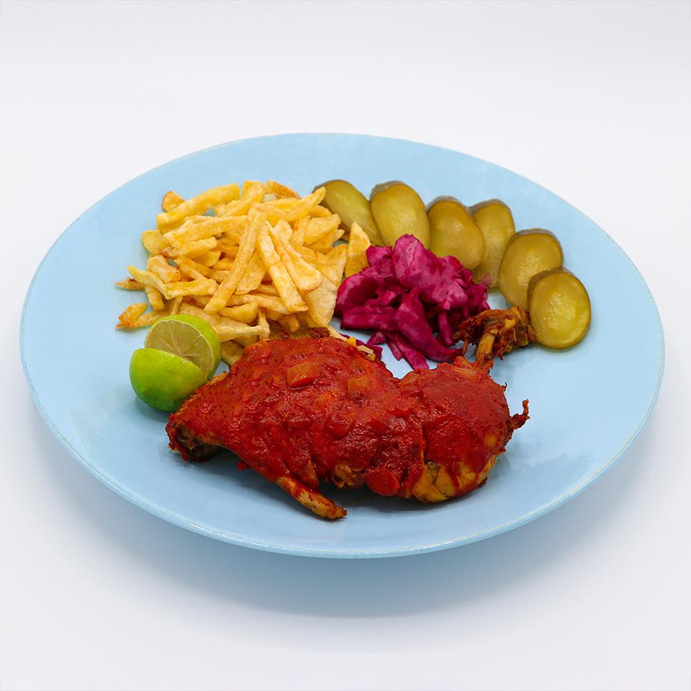 خوراک مرغ سرخ شده