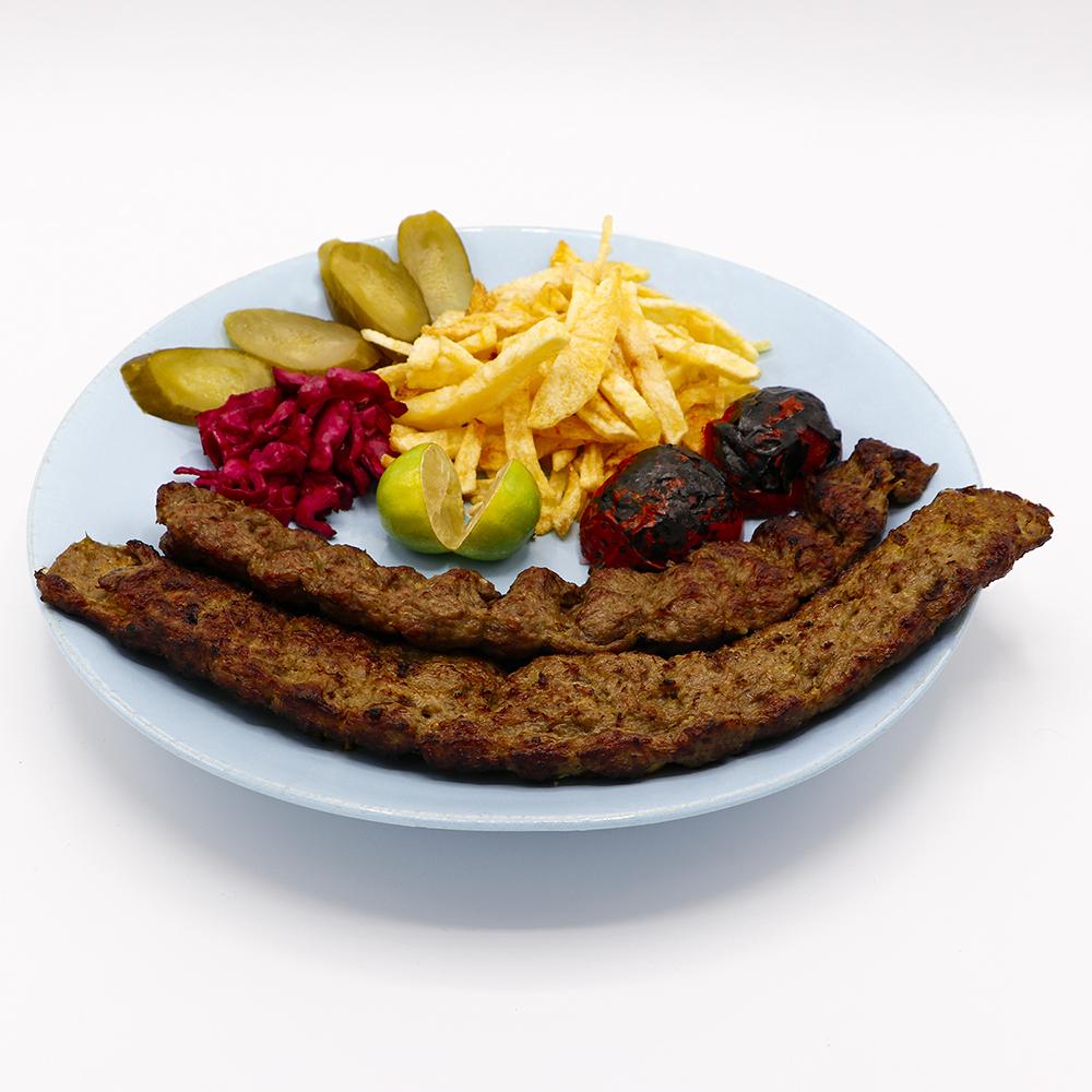 خوراک کباب کوبیده (دو سیخ)