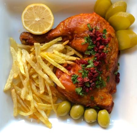 خوراک مرغ سرخ شده (ران)