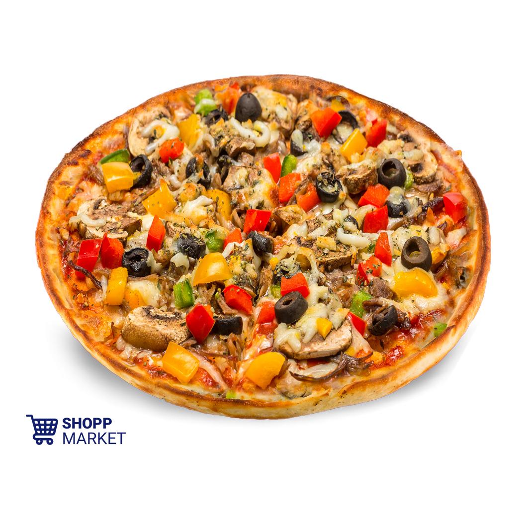 پیتزا گوشت و قارچ متوسط