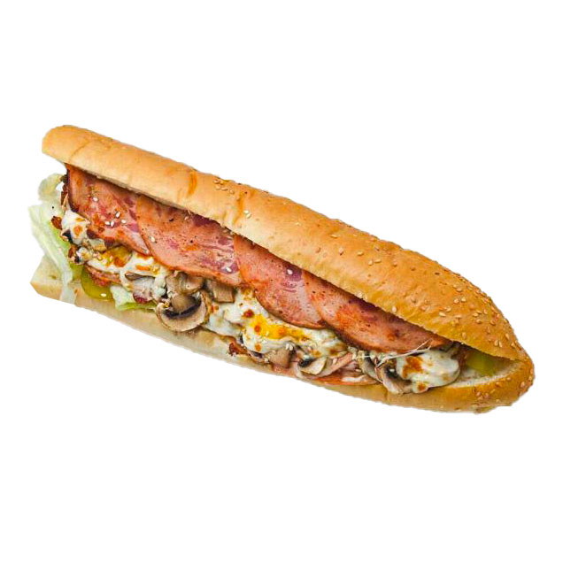 ژامبون تنوری مرغ یا گوشت همراه با پنیر و قارچ